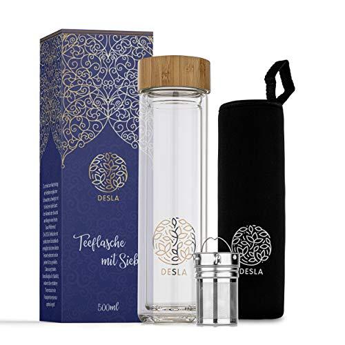 Desla ® Teeflasche mit Sieb – Trinkflasche aus Borosilikatglas – [500ml] Teeflasche mit Sieb to go – Nachhaltiges Material – Outdoor geeignet (Glas)