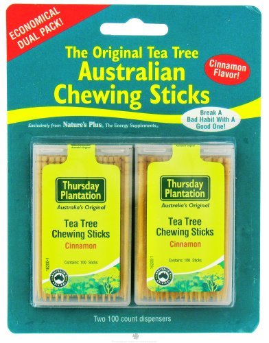 Tea Tree Chewing Sticks Dual Pack - Cinnamon Thursday Plantation 100 + 100 Toothpick by Nature's Plus