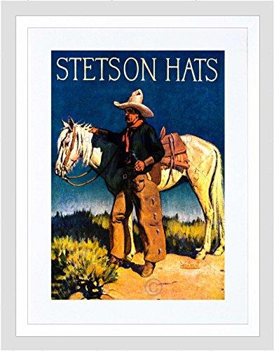 Wee Blue Coo Vintage Advert Stetson Man Cowboy Paard Hoed Nieuwe Ingelijste Muur Art Print