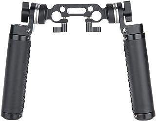NICEYRIG Rosette Handle Juego de Empuñadura de Cuero con ARRI Adaptador de Montaje de Roseta Estándar 15 mm Abrazadera de Varilla para Cámara DSLR Sistema de Soporte de Hombro