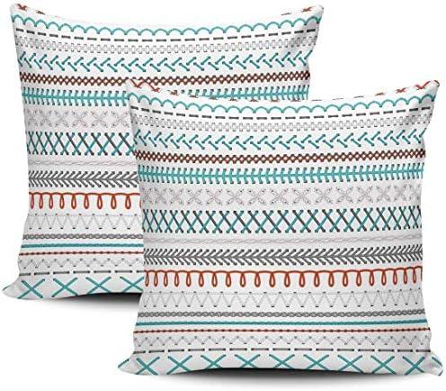 Home Set van 2 kussenslopen Rode en blauwe steken Witte kussenslopen Kussen 18 X 18 Inch