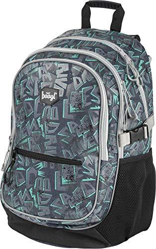 Baagl Kinderrucksack für Junge, Schulranzen für Kinder mit ergonomisch geformter Rücken, Brustgurt und reflektierende Elemente (Cool)