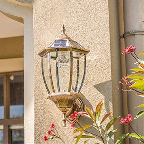 Europäische Solar Outdoor-Wandlampe LED Outdoor wasserdicht Solarlicht Balkon Terrasse Garten Villa Hof Licht Bronze Solar Modell/Spike Bend Sechseck