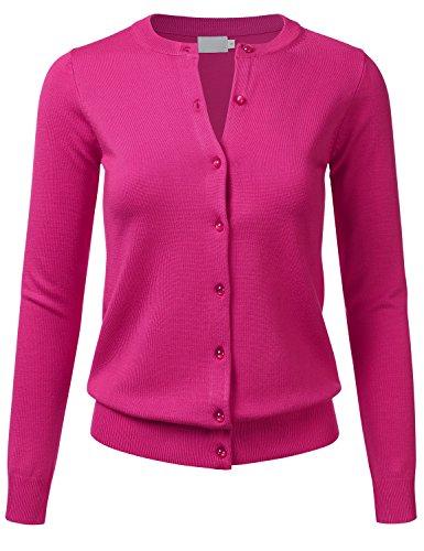 FLORIA Women's Gem Button Crew Neck Long Sleeve Soft Knit Cardigan Sweater HOTPINK M