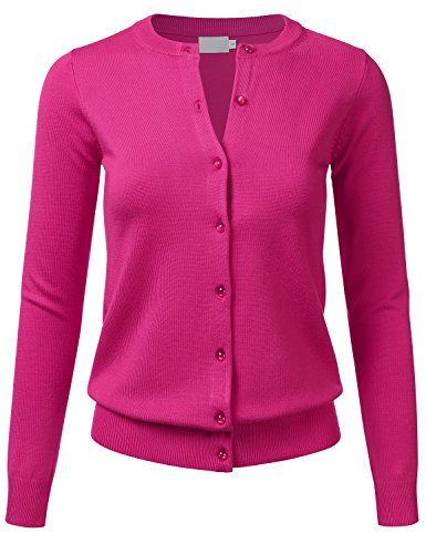 FLORIA Women's Gem Button Crew Neck Long Sleeve Soft Knit Cardigan Sweater HOTPINK M