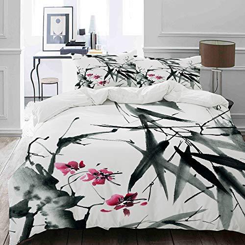 MIGAGA Bettwäsche-Set, Mikrofaser,Natürliche Heilige Bambusstämme Kirschblüte Japanisch inspirierte Folk Print,1 Bettbezug 135 x 200cm+ 2 Kopfkissenbezug 80x80cm
