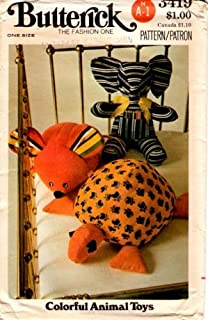 Butterick 4573 Colorful Stuffed Animal Toys Sewing Pattern Turtle Elephant Mouse Vintage