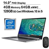 2020 Acer Swift 1 14 Inch FHD 1080P Laptop| Intel Pentium N5000 up to 2.7 GHz| 4GB RAM| 64GB eMMC| HDMI| Webcam| Windows 10 Home S + NexiGo Wireless Mouse + 128GB SD Card Bundle (Renewed)