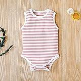 Pijama de algodón a rayas para bebé, niña, niño, para verano, de algodón, para exteriores, con cuello redondo, 1 pieza rosa 0-3 Meses