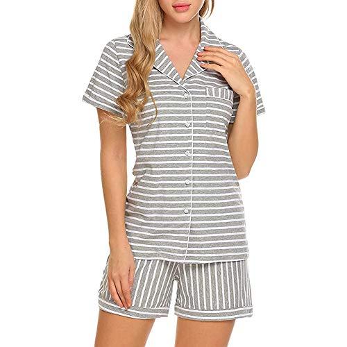 Conjunto de pijamas de manga corta para mujer, con botones y botones