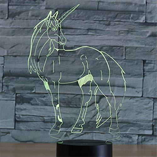 Lampe illusion 3D Night Light, pour Licorne gracieuse avec lumière de 7 couleurs pour Déc à la maison, lampeoptique