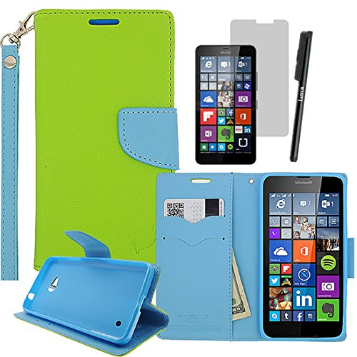 Lumia 640 case, LUXCA (TM) For Lumia 640 (Microsoft Lumia 640) (at&t, T-Mobile, metroPCS) Wallet Pouch Dual-use Flip Pu Leather Case Cover w  Hand Strap Folio Stand Id Credit Card   Cash Slots and Inner Pocket + Premium Screen Protector + Stylus Pen Touch Screen (Green   Sky Blue Wallet)
