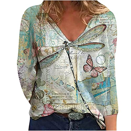 Women Long Sleeve Tshirt Tops, Trendy Dragonfly Print Sexy V Neck Sweatshirt Casual Loose Fit Comfy Soft Fall Clothing