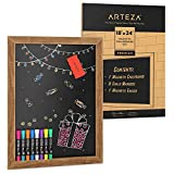 Arteza Magnetic Chalkboard for Walls, 18x24 Inch, Easy to Mount, Includes 8 Chalk Markers & a Magnetic Eraser, Rustic Black Chalk Board Sign for Kitchens, Cafes, Stores & Events