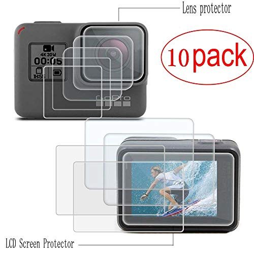 Tempered Glass, Tempered Glass Replacement Sport Camcorder Screen Protector Foils for Gopro Hero 7 6 5 Black Tempered Glass Screen and Lens Cap Cover Protector for GoPro Hero 7 6 5(10 Pack)