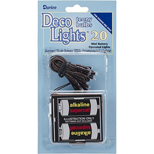 Darice Deco Lights Battery Operated Teeny Brown Cord (20 Bulbs), White, Acrylic, Multicolour, 17.52x7.87x1.77 cm