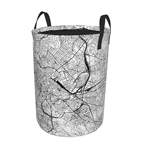 Cesta grande para la colada resistente, bolsa de ropa, diseño de mapa blanco de Roma con cierre de cordón, cesta redonda impermeable