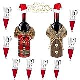 mciskin Cubierta de Botella de Vino de Navidad 12 Piezas Bolsas de Vino Tinto para Vestir Botella de Vino Reutilizables para la Cena del Hogar Decoración de la Fiesta de la Mesa Adornos