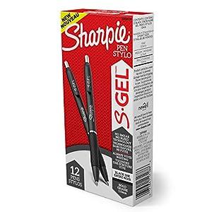 Sharpie S-Gel, Gel Pens, Bold Point (1.0mm), Black Ink Gel Pen, 12 Count