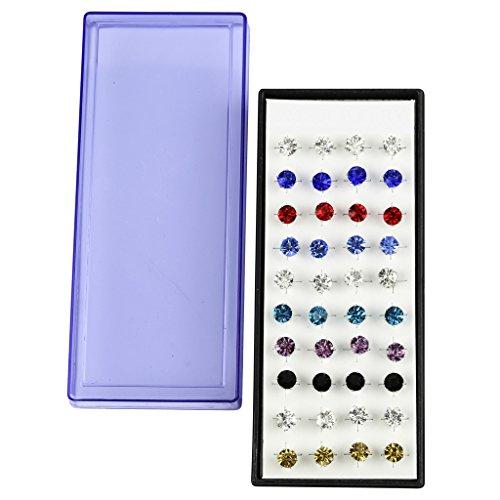 Lux Accessories Medium Multi Color Crystal Stud Multiple Stud Earring Set...