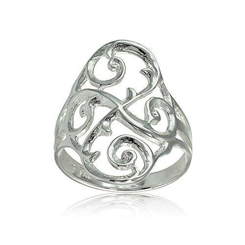 Hoops & Loops Sterling Silver Filigree Celtic Swirl Ring, Size 8