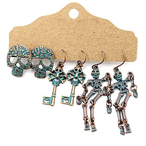 COSYOO Pendientes góticos divertidos 3 pares de aretes de zinc decorativos con diseño de esqueleto