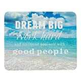 Wozukia Dream Big Work Hard Inspirational Quote Navy Blue Ocean Beach Scene Mouse Mat Non-Slip Rubber Gaming Mousepad Rectangle Mouse Pads for Computers Laptop 9.5x7.9 Inch