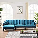 MOOSENG Modern Convertible Velvet Bed L-Shaped Couch Sleeper Metal Nail Decoration 2 Pillows & 3 Angles Adjustable, 4-Seat Sofas Sectional for Living Room, (Light Blue)