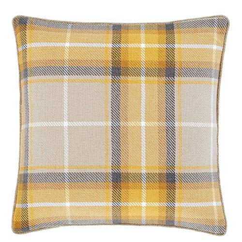 Catherine Lansfield Brushed Heritage Check Cushion Cover - Ochre Yellow (55cm x 55cm (22' x 22'))