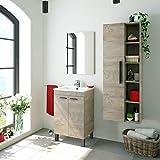 Miroytengo Pack de baño Aseo Color Roble Alaska con Mueble, Espejo, Lavabo y Columna Industrial...