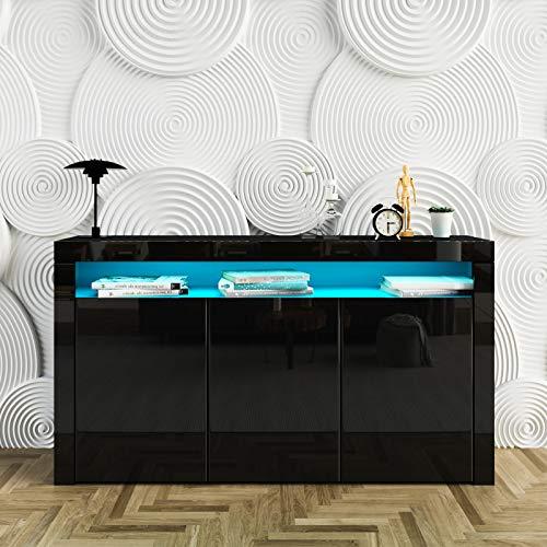 UNDRANDED Highboard Kommode Sideboard, Korpus in Schwarz Matt/Hochglanz Front, Mehrzweckschrank mit 3 Türen LED Beleuchtung 152 x 97 x 35cm