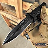 Hunting Knife Tactical Knife Survival Knife 8' Fixed Blade Knife w/ Molle Compatible Pressure Retention Sheath Camping Accessories Survival Kit Survival Gear Tactical Gear 79965 (Black)