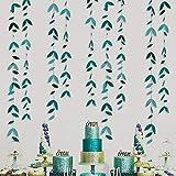 52Ft Decoración para Fiestas, Color Verde Oscuro, Kit de guirnaldas de Hojas de Papel para Colgar, Hojas Verdes, banderines con serpentinas para cumpleaños rústicas, Boda, Compromiso, Ducha