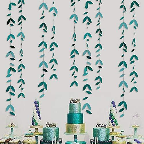 52Ft Party-Dekoration, dunkelgrün, Kit mit Blättern, zum Aufhängen, grüne Blätter, Banner mit Luftschlangen, für rustikales Geburtstag, Babyparty, Hochzeit, Verlobung, Dusche