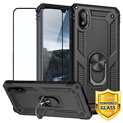 """TJS Phone Case for Samsung Galaxy A10E 5.8"""" (Not Fit Galaxy A10/M10), with [Full Coverage Tempered Glass Screen Protector][Impact Resistant][Defender][Metal Ring][Magnetic Support] Armor Cover (Black)"""