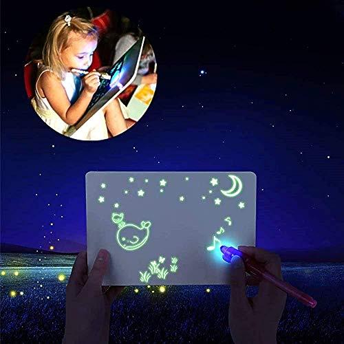 bestbeans Licht Zauber Set A4+A5 - Maltafel + UV Lampe + Geheimstift - pädagogische leuchtendes Zeichenbrett im Dunkeln leuchten Zauber malen Zeichen-Tafel Geheimschrift