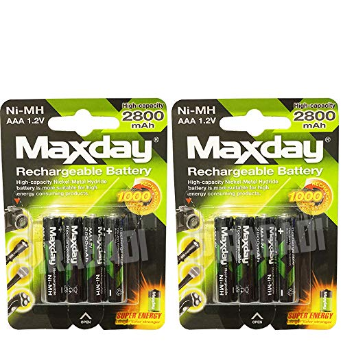 Lot DE 8 Piles ACCUS Batteries AAA LR03 1.2V NI-MH Rechargeable Mignon 2800mAh | REMPLACE Les Piles AAA 1.5V | AAA LR03 LR3 R03 R3 H03 H3 3A |Jouet TELECOMMANDE Lampe Voiture ETC. (AAA 2800mAh)