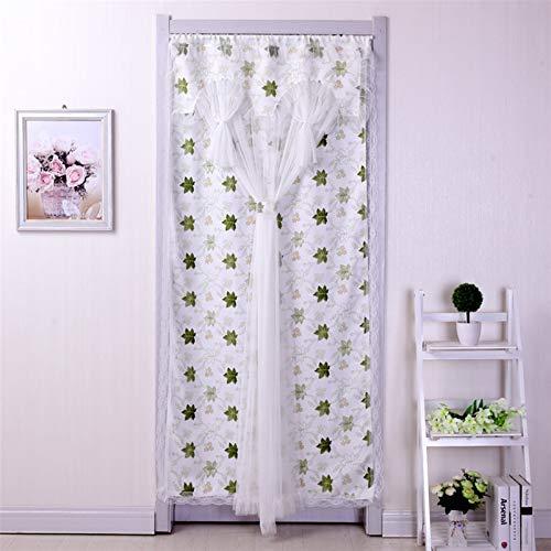 Liveinu - Tenda da finestra in tulle con pannelli velati in voile per porta, finestra, tende giapponesi Noren per porta, divisorio con asta di tensione, 88,9 x 198,1 cm, colore: verde
