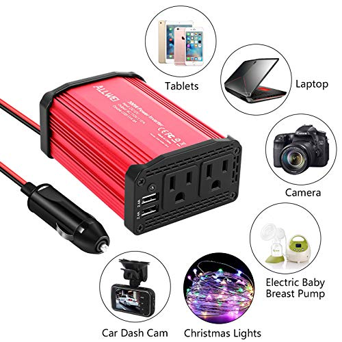 300W Car Power Inverter DC 12V to 110V AC Converter 4.8A Dual USB Charging Ports Car Charger Adapter (Red)