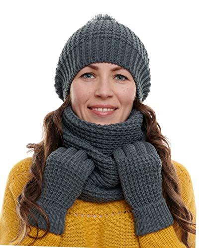 Hilltop - Set de bufanda, gorro y guantes o calentadores de brazo