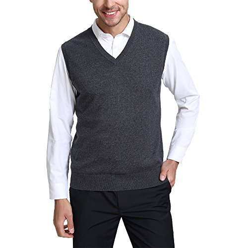 Kallspin Men's Cashmere Wool Blend Relax Fit V Neck Vest Sweater Knit Sleeveless Pullover, Charcoal, XL