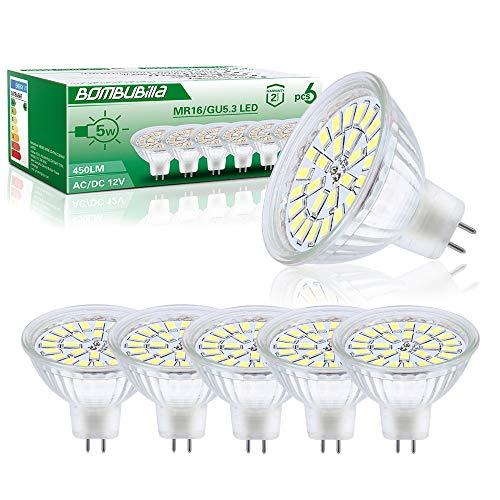 Lampadine LED GU5.3, MR16 LED 12V 5W Lampada Equivalente a 50W Alogena Bianco Freddo 6000K, 6 Pezzi