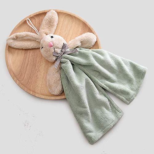MaikcQ Toallas de mano, lindas toallas de mano de conejo para colgar, creativas toallas de mano decorativas, utilizadas para limpiar las manos (verde)