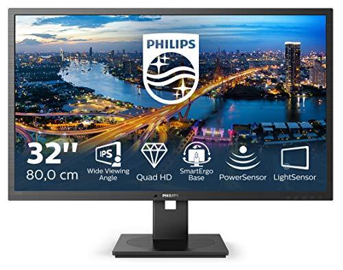 Philips 325B1L 80 cm (32 Zoll) Monitor (HDMI, DisplayPort, USB Hub, 4ms Reaktionszeit, 2560x1440 Pixel, 75 Hz, FreeSync, Pivot) schwarz