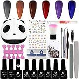 Kit de uñas de gel 6+3 esmalte de uñas de gel Set 8 ml Soak Off UV Gel de uñas con base y brillo/capa superior mate para salón de uñas,herramientas de uñas decoración de uñas Kit de diseño de manicura