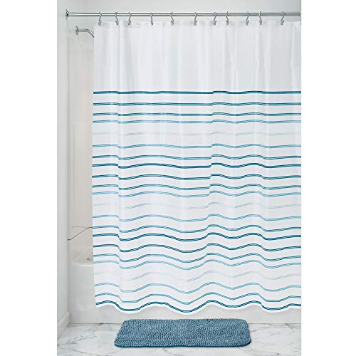 Price comparison product image iDesign Lindy Stripe Shower Curtain,  Striped Wide Shower Curtain for the Bath Made of PEVA with Reinforced Eyelets,  White and Blue