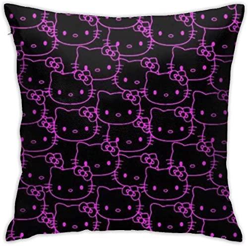 KINGAM Fundas de almohada decorativas suaves de Hello Kitty () Funda de almohada cuadrada cómoda funda de cojín de lujo para sofá, cama, silla, coche, decoración del hogar (45 x 45 cm)