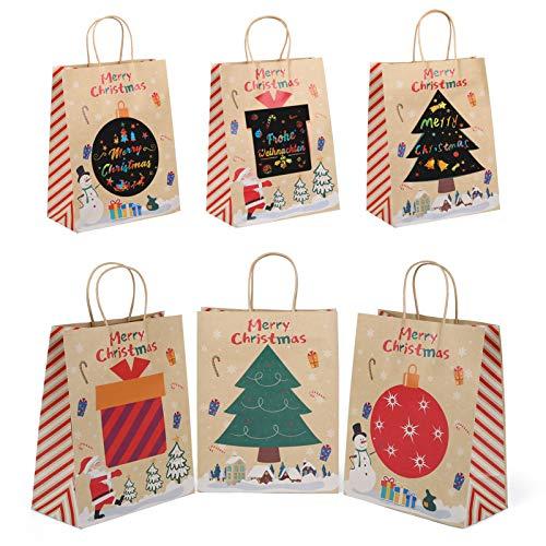 Kesote 12 Bolsas de Regalo Navideñas con Asas Bolsas Papel de Rascar para Personalizar para Fiestas y Cumpleaños Decoraciones