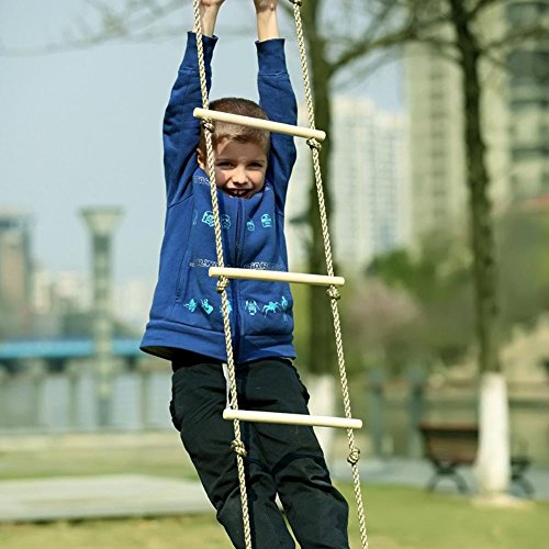 Leiyini Strickleiter für Kinder, Turngerät Holz Hängeleiter mit 5 stabilen Holzsprossen Kinder Kletterspielzeug für Drinnen und draußen Länge 190 cm