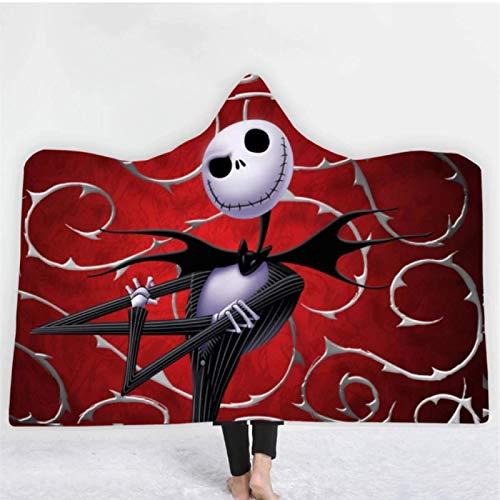 Regalo de Navidad Invierno Suave Manta con capucha Sherpa Manta de lana Pesadilla antes de aire acondicionado Manta de rodilla Ropa de cama mullida 130 * 150 cm